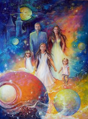 ,,The rulers of his universe,. (canvas, oil, acrylic) 130x80